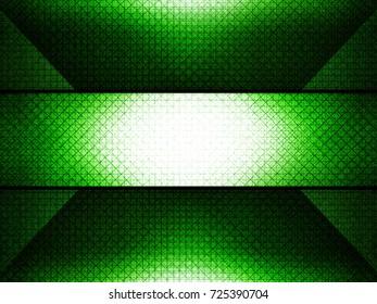 Green background. Grid pattern.