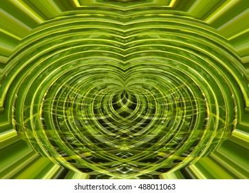 Green background made of pattern with palm tree leaves