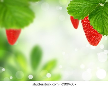 Green background with strawberries
