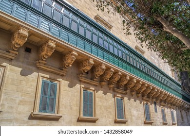 Green balcony on facade of Grand Masters Palace in Valletta, Malta
