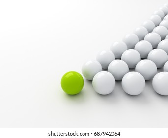 Green ball ahead of white balls. Conception of leadership. 3d render