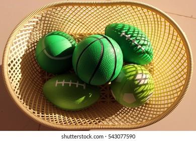 Green ball found in basket