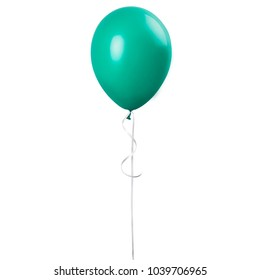Green balloon isolated on a white background. Party decoration for celebrations and birthday