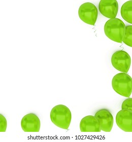 Green baloons with golden ribbons and with clear path on center isolated on white background. 3D illustration of holidays, party, birthday baloons