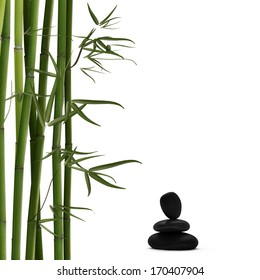 Green Bamboo with Black Stones
