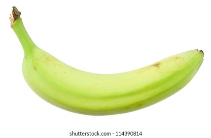 Green banana isolated on white with clipping path