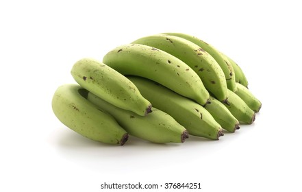 green banana on white background