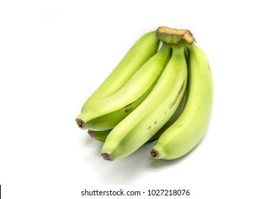 green banana raw fruits on white background
