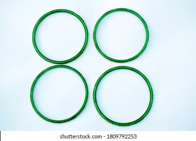 Green bangles isolated on white background, wedding Traditional green bangles.
