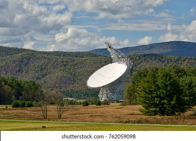 Green Bank, West Virginia - October 15, 2017 - The Robert C. Byrd Green Bank Telescope (GBT) located at the Green Bank Observatory points skyward listening for signals from deep space.