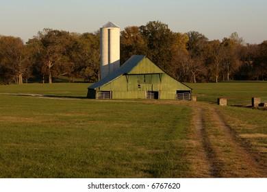 Green Barn and Silo in Suburban Nashville Tennessee