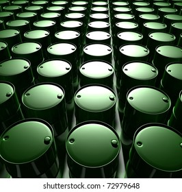 green barrels with oil