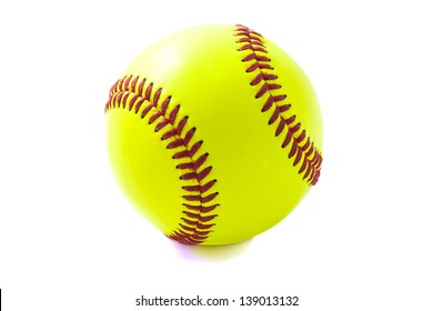 Green basebal with red isolated over white