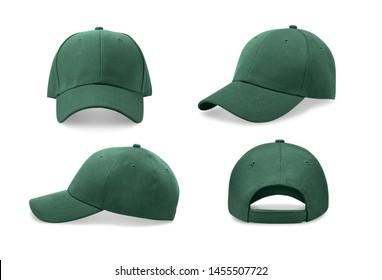 Grüne Baseballkappe in vier verschiedenen Blickwinkeln. Geh nach oben.