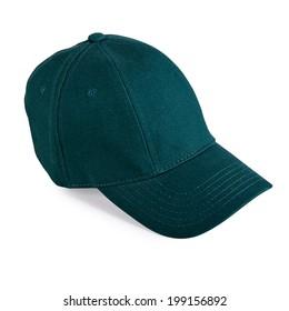 Green baseball cap isolated on white background