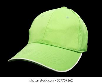 green baseball cap on black background, studio shot