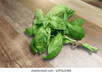 Green basil leaves on wooden background