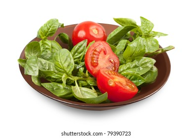 green basil and red tomatoes