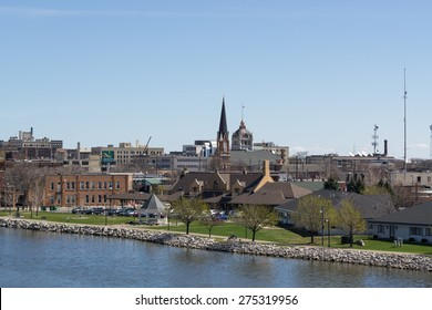 Green Bay, Wisconsin - April 27:  Downtown Green Bay view from Tilleman Bridge April 27, 2015.
