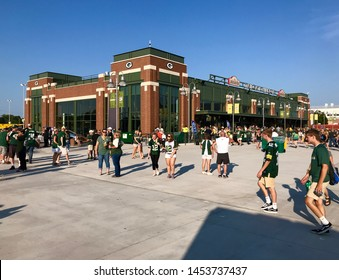 Green Bay, Wisconsin. August 9th, 2019. A view of the Tailgate Village Structure in the parking lot of Lambeau Field on the day of a game.