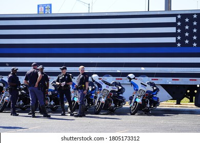 Green Bay, Wisconsin / USA - August 29th, 2020: Pro Trump blue lives matter motorcycle rally took place at vandervest harley-davidson.