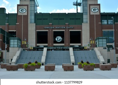 Green Bay, Wisconsin / USA - July 18, 2018: The empty Oneida Nation Gate to the Packer's stadium.