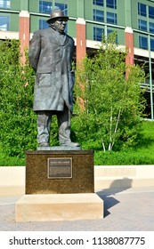 Green Bay, Wisconsin / USA - July 19, 2018: The bronze Vince Lombardi stature in front of the Packer's stadium.
