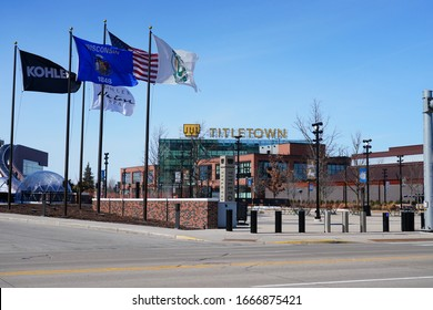 Green Bay, Wisconsin / USA - March 7th, 2020: Titletown District, also known as the Titletown Entertainment District or simply Titletown in Green Bay, Wisconsin adjacent to Lambeau Field.