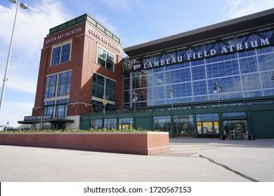 Green Bay, Wisconsin / USA - May 2nd, 2020: Green Bay Packers Lambeau Field Atrium entrance.