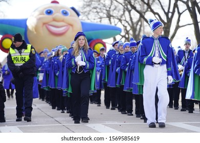 Green Bay, Wisconsin / USA - November 23rd, 2019: Notre Dame Academy musical marching band marched in 36th Annual Prevea Green Bay Holiday Parade hosted by Downtown Green Bay.