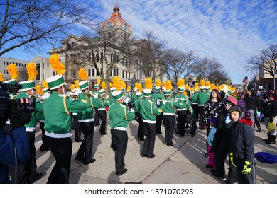 Green Bay, Wisconsin / USA - November 23rd, 2019: Green Bay Preble High School Hornets musical marching band marched in 36th Annual Prevea Green Bay Holiday Parade hosted by Downtown Green Bay.