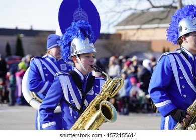 Green Bay, Wisconsin / USA - November 23rd, 2019: Vincent T. Lombardi Middle School Spartan musical marching band marched in 36th Annual Prevea Green Bay Holiday Parade hosted by Downtown Green Bay.