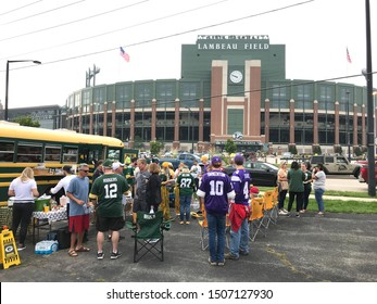 Green Bay, Wisconsin/USA. September 15, 2019. Fans tailgate in front of Lambeau Field on a game day in Wisconsin.