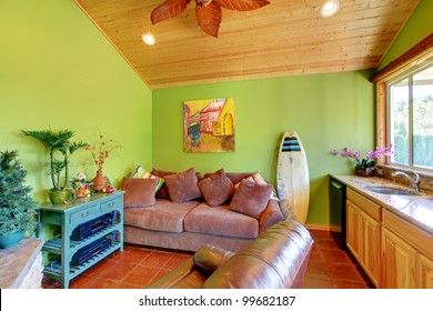 Green beach pool living room in the little house with sink and sofa.