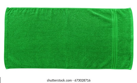 Green beach towel isolated on white background