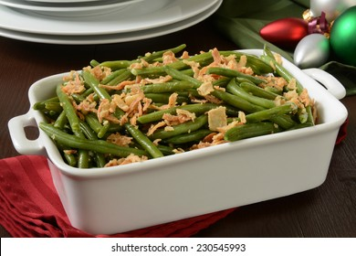 A green bean casserole with crispy fried onions