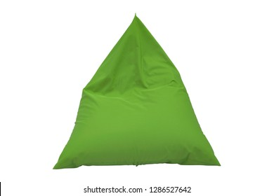 Green beanbags isolated on white background