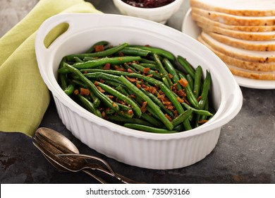 Green beans with bacon, side dish for Thanksgiving or Christmas dinner