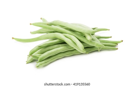 Green beans handful isolated on white background.