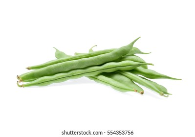 Green beans isolated on white background.