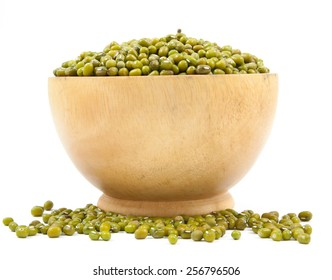Green beans on cup wood isolated on a white background