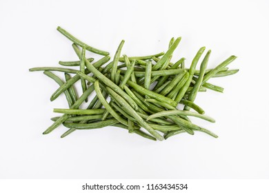 Green beans on a white background.