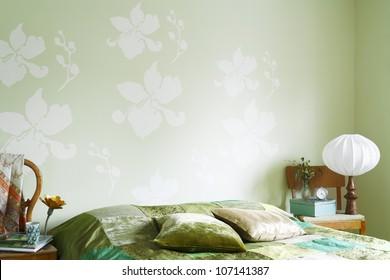 A green bedroom.