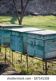 Green beehives in Kakheti region, Georgia, next to the Ikalto monastery.