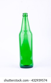 green beer bottle for beer beverage party on white background drink isolated