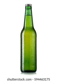 Green beer bottle with drops