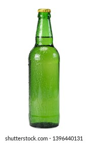 Green beer bottle with drops on white background close-up