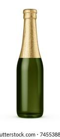 green beer bottle with gold foil neck 3d render