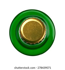 Green beer bottle, top view