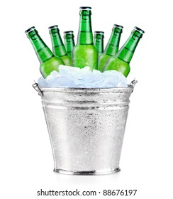 Green beer bottles in ice